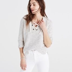 [MADEWELL] stripe lace up top